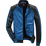 YGT Men's Warm Slim Fit PU Leather Bomber Motorcycle Fur Jacket Coat