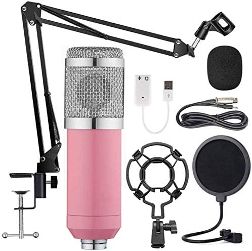BM-800 Condenser Microphone Kit, Recording Kit with Adjustable Microphone Holder and Double-Layer Filter, Studio Microphone for Professional Recording Broadcasting Singing,Pink