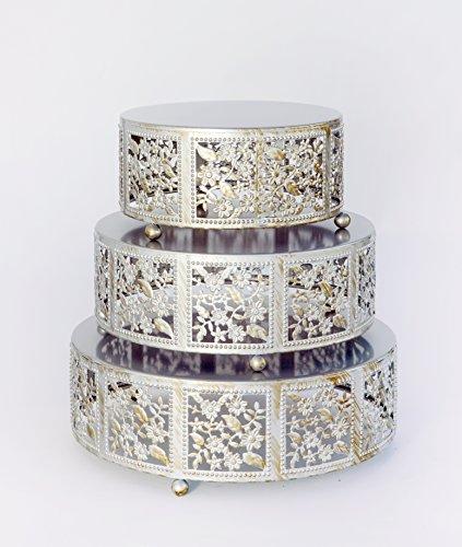 Opulent Treasures Cake Stand, Round Cherry Blossom Metal Cupcake Dessert Display Plates, Set of 3 (Silver) - Wedding Cake Stand Set