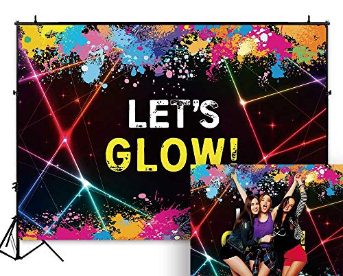 Funnytree 7X5ft Glow Neon Party Backdrop Colorful Laser