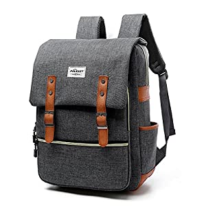Vintage Laptop Backpack Canvas College Backpack School Bag Fits 15inch Laptop by Puersit(Gray)