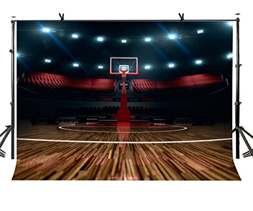 (LYLYCTY High - end Basketball Court Background Indoor Photography Backdrop Sports Club Studio Photo Backdrop Props 5x7ft Room Mural Backdrop)