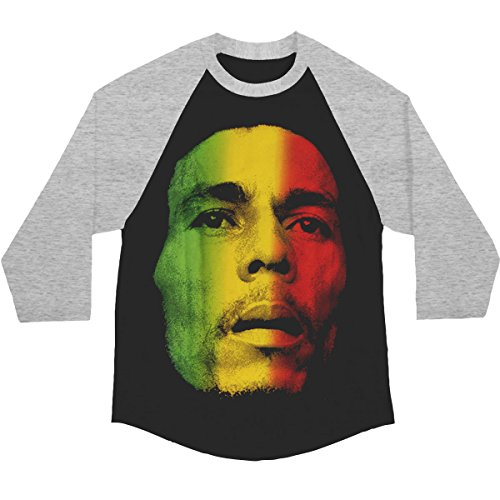 (Bob Marley Rasta Face Adult Raglan - Black (XX-Large))