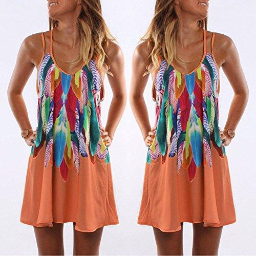 D't Plage Robe Orange Imprim Robe Femme Kingwo Maxi Cocktail Party Bohme pour de BwqFPA5