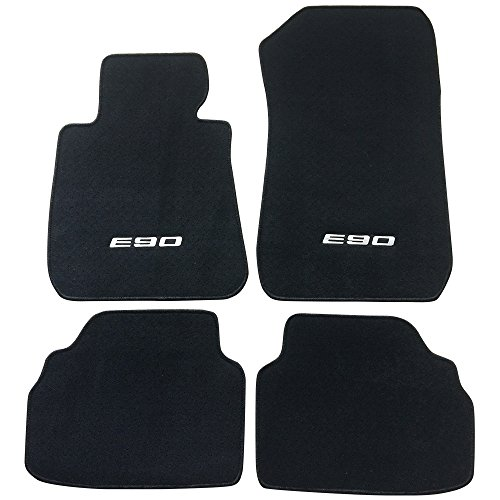Floor Mat Fits 2005-2011 BMW E90 Logo 3 Series | Factory Fitment Front & Rear Nylon Car Floor Carpets Carpet liner by IKON MOTORSPORTS | ?2006 2007 2008 2009 2010 (2005 Bmw 3 Series Coupe)