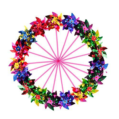 Sohapy 20 Pack Mixed Colors Plastic Sequined Pinwheels,Windmil Spinners for Party,Kids Toy,Garden,Lawn or -
