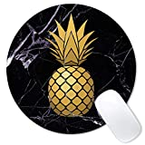 Galdas Mouse Pad Gold Pineapple Black Marble Design Mousepad Non-Slip Rubber Gaming Mouse PadRound Mouse Pads for Computers Laptop - Pineapple Marble