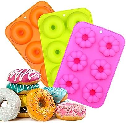 EKKONG Moldes de Silicona Donut,Resistente al Calor a 260 °C ...