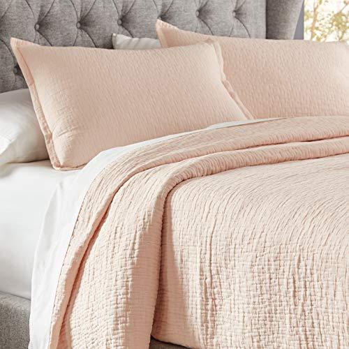 Stone & Beam Locklar 100% Cotton Lightweight Textured Full/Queen Coverlet Set, Easy Care, 90 x 90, Blush