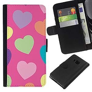 Planetar® Modelo colorido cuero carpeta tirón caso cubierta piel Holster Funda protección HTC One M9 ( Heart Green Pattern Orange Purple )