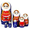 Cute Bule and Red Snow Little Girl With Double Ponytail Wooden Handmade Russian Nesting dolls Matryoshka Dolls Set 7 Pieces For Kids Toy Birthday Christmas Home Decoration Perfect Mother's Day Gift