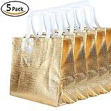 Rumcent Bling Bling Glossy Durable Reusable Medium Non-woven Gift Bag Set Of 5,Shopping Bag,Promotional Bag(Golden)