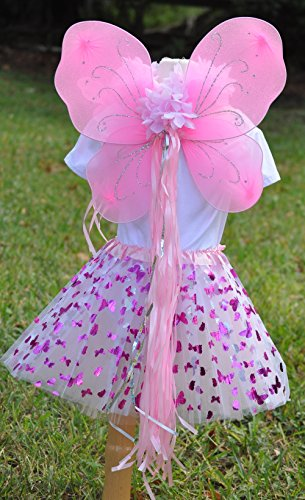 Girls Pink Butterfly Fairy Costume with Wings, Wand and Halo by Fairytale Play (Image #2)
