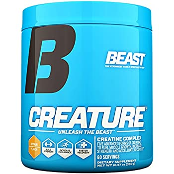 Beast Sports Nutrition – Creature Creatine Complex – Fuel Muscle Growth – Optimize Muscle Strength – Enhance Endurance – Increase Recovery Time – Five Forms of Creatine – Citrus 60 Servings