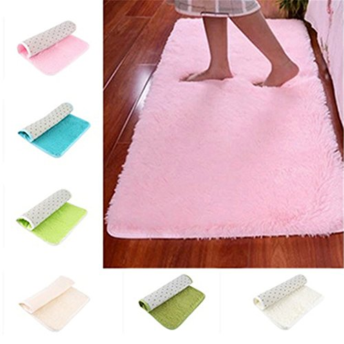 - ZX101 Candy Color Soft Anti-Skid Carpet Flokati Shaggy Rug Living Bedroom Floor Mat for Front Door Openings Inside Floor Dirt Trapper Mats Cotton Entrance Rug (Pink)