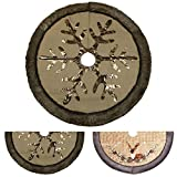 """Image of Valery Madelyn 48"""" Woodland Collection Burlap Christmas Tree Skirt with Faux Fur Trim Border"""