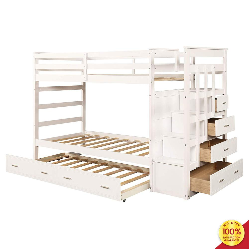 MOOSENG, Solid Wood Kids and Teenagers, Hardwood Twin Bed with Trundle and Staircase Drawer Bunk, Fashionable White