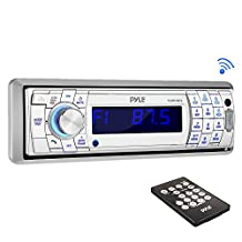 Pyle AM/FM-MPX In-Dash Marine Detachable Face Radio with SD/MMC/USB Player and Bluetooth Wireless Technology PLMR17BTS