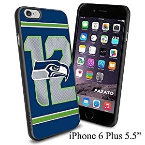 """NFL 12 Seattle Seahawks , Cool iPhone 6 Plus (6+ , 5.5"""") Smartphone Case Cover Collector iphone TPU Rubber Case Black by kobestar"""