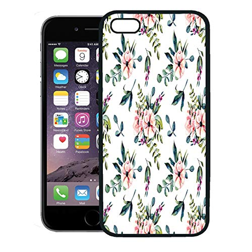 - Semtomn Phone Case for iPhone 8 Plus case Cover,Green Leaf Floral Pattern Watercolor Pink Flowers and Eucalyptus Branches Bouquets on Anemone,Rubber Border Protective Case,Black
