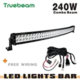 Truebeam 240W 42inch Led Light Bar Curved Combo Cree Led Work Light Bars Car Driving Lights Waterproof for ATV Off Road Pickup SUV Jeep ATV UTE IP68 Hight Power Wiring Harness 3 Years Warranty IP68