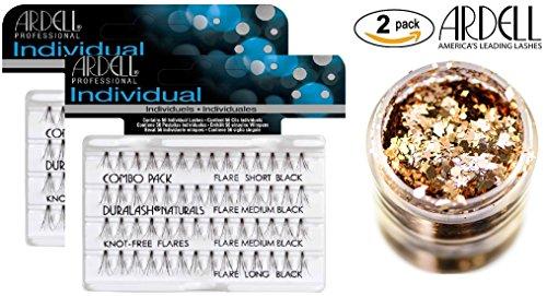Ardell DURALASH INDIVIDUALS, COMBO PACK, Knot-Free Flares, Contains 56 Individual Lashes of Short/Medium/Long Black (2-PACK with bonus Skin/Hair GLITTER) (Combo Pack #65063 (2-PACK)) (Ardell Duralash Flare Short)