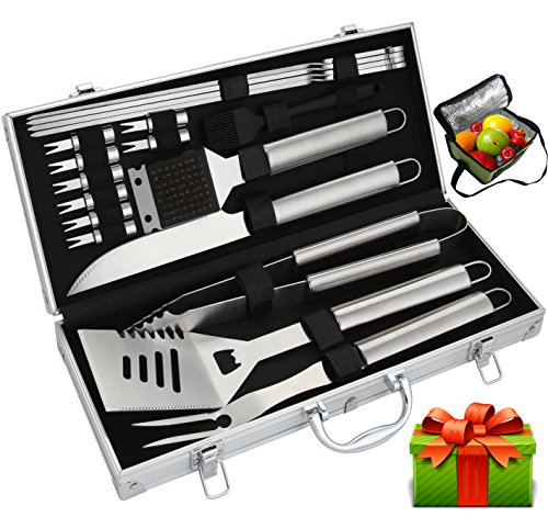 ROMANTICIST BBQ Tools Set - 19PCS BBQ Grill Tools Set - Heavy Duty Stainless Steel Barbecue Grilling Utensils in Aluminum Storage Case - Premium Grilling Accessories for Barbecue