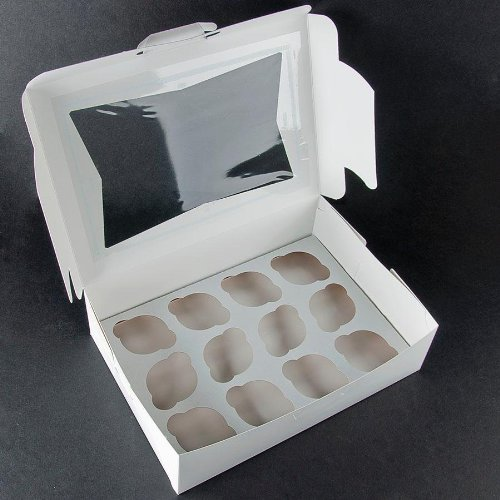Cupcake Box holds 12, PACK of 10, 14x10x4 White Window Bakery/Cake Box and Inserts w/ Signature Picks by Happy Hour Supplies (Image #2)