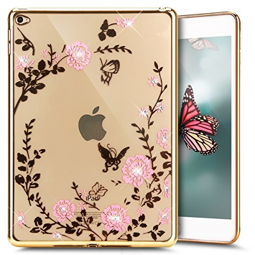 iPad-Air-2-Case-iPad-Air-2-CoverPHEZEN-Pink-Flower-Butterfly-Gold-Plating-Crystal-Clear-Bling-Diamond-Plating-Bumper-TPU-Soft-Case-Rubber-Silicone-Skin-Cover-for-iPad-Air-2