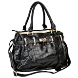 TAIT Black Faux Crocodile Print Top Double Handle Bowler Office Tote Satchel Hobo Handbag Purse Shoulder Bag, Bags Central