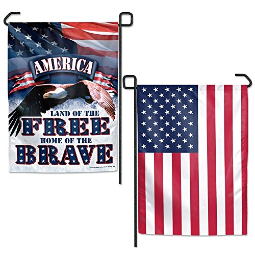 WinCraft America Land of the Free Garden Flag 2 Sided TWO Designs Patriotic Bald Eagle US Flag (Eagles Two Bald)