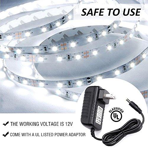 Ustellar Dimmable LED Light Strip Kit, 300 Units SMD 2835 LEDs, 16.4ft/5m 12V LED Ribbon, 6000K Daylight White Under Cabinet Lighting Strips, Non-waterproof LED Tape, UL Listed Power Supply by Ustellar (Image #3)