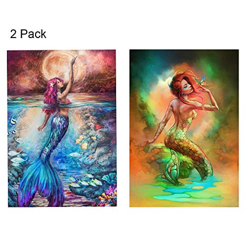 FUNISFUN 2 Pack Mermaid DIY Oil Painting Paint by Number Kits for Adults Children Beginner Students Suitable for Home Living Room Decoration (Best Paint By Number Kits For Adults)
