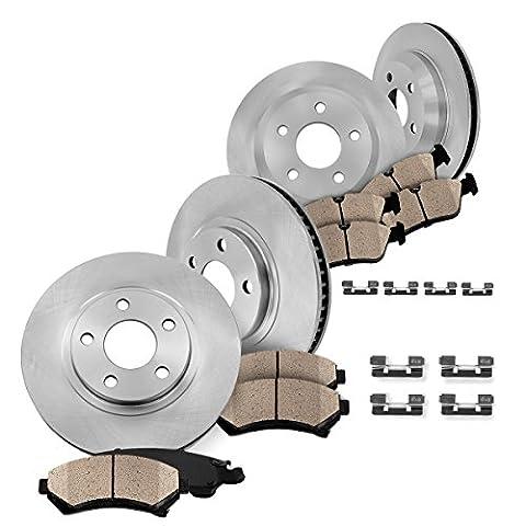 [ 4WD ] FRONT 274 mm + REAR 295 mm Premium OE 5 Lug [4] Rotors + [8] Quiet Low Dust Ceramic Brake Pads + Clips