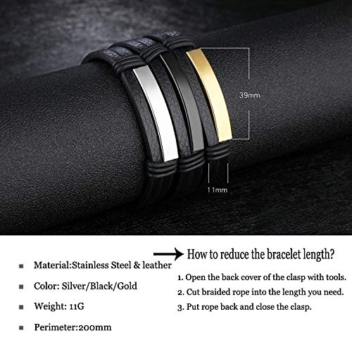 8.0 DEO JEWELRY Free Engraving Stainless Steel Nameplate Personalized Custom Name Coordinates ID Leather Bracelets for Men Women