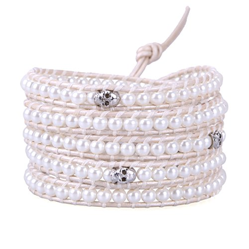 (KELITCH New Bright Sea Shell Pearl Skull Beaded 5 Wrap Bracelets Handmade White Leather Bangles)