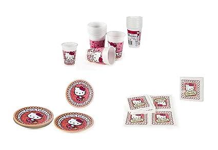ALMACENESDAN, 0447, Pack Desechables Fiestas y cumpleaños Hello Kitty, 16 Platos 19,