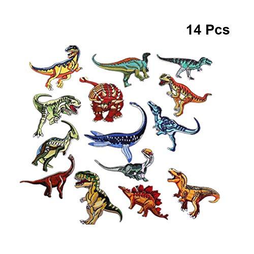 SUPVOX スパンコールパッチ 刺繍 恐竜 かわいい 布貼り 服縫製DIYアクセサリー 14個入の商品画像