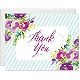 Lovely Flower Bloom Design Thank You Cards with Envelopes (Pack of 25) Notecards Lt Blue Stripe Border Thanks Bridesmaids Wedding Party Baby Birthday Anniversary Gift Notes Excellent Value VT0086B