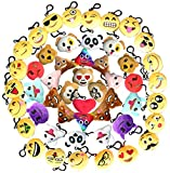 Emoji Keychain Plush Mini Pillow Decoration, Kids Birthday Party Supplies Favors for Girl, Lot Key Chain Pendant Set - One Kit Cute Emoticon Toy, Wished Gift (50 Pack 2 Inches)