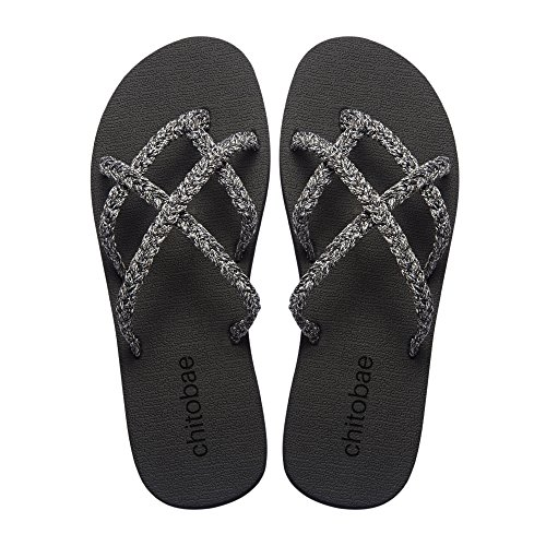 chitobae Flip Flops Sandal for Women Silver Frosting 9 B(M) US