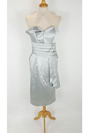 Pia Michi Pewter Silver 3052-75 Italian Silk Cocktail Dress