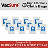 Electrolux Hepa S-Bag for Harmony/Oxygen Canister Vacuum, By VacSure (12 Bags)