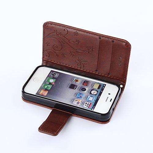 Beiuns Étui en Simili cuir pour Apple iPhone 5 5G 5S Housse Coque - R154 marron profond