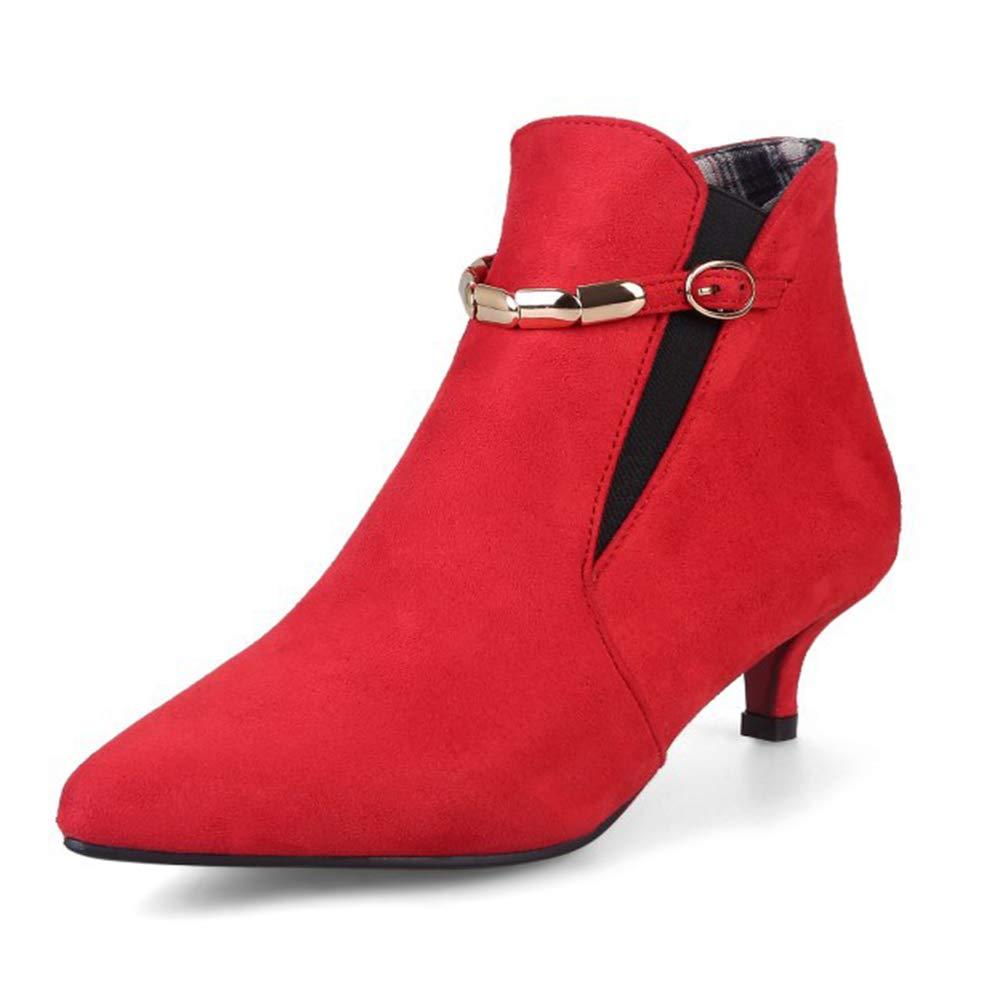 CITW Herbstliche Damenstiefel Wildleder Spitzenstiefel Großformat Damenschuhe Metallkette Mit Damen Stiefeln,rot,UK4 EUR38