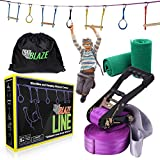 Backyard Ninja Line Hanging Obstacle Course for Kids - 40ft Slackline Kit with Monkey Bars, Gym Rings + Tree Protectors - Perfect American Ninja Warrior Training Equipment for Kids