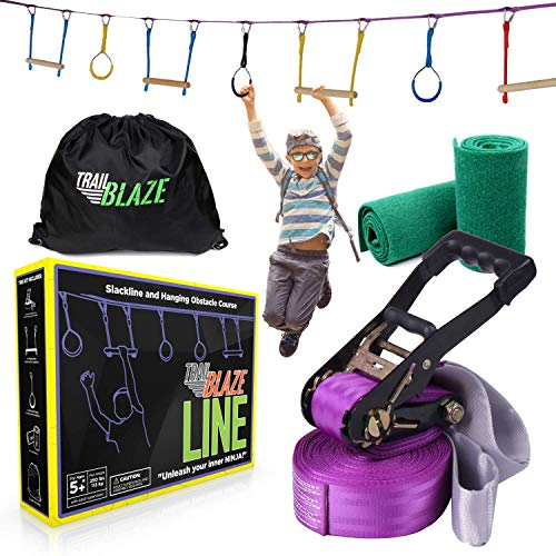 Ninja Warrior Hanging Obstacle Course for Kids - 40ft Ninja Line Monkey Bars with Gym Rings + Tree Protectors - Perfect American Ninja Warrior Training Equipment for Kids