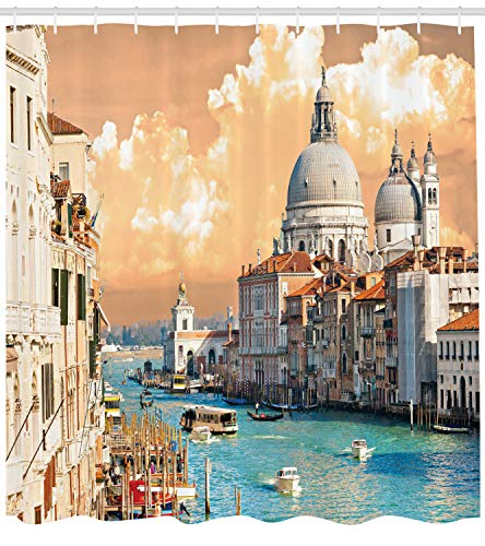 Ambesonne European Shower Curtain, Grand Canal in Venice Italy Historic European Cityscape Town Tower Boho Print, Cloth Fabric Bathroom Decor Set with Hooks, 75