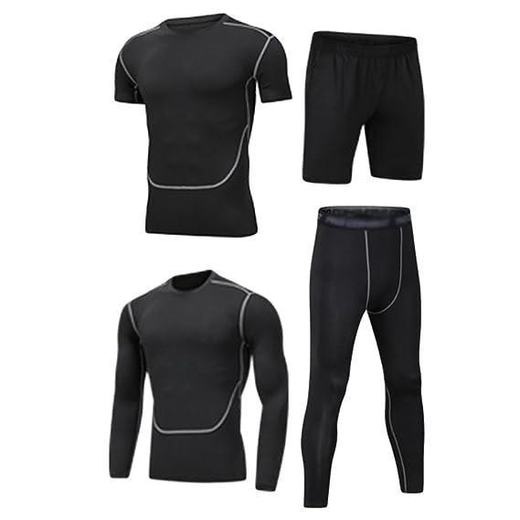 Dooxii Homme 4 Pièces Vêtements de Sport avec Manches Courtes Manches Longues Shirt Compression Collant Short Séchage Rapide pour Workout Ensemble de