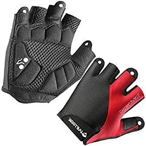Letook Men's Padded Half Finger Bike Gloves Breathable Summer Cycling Gloves for Bicycle Riding